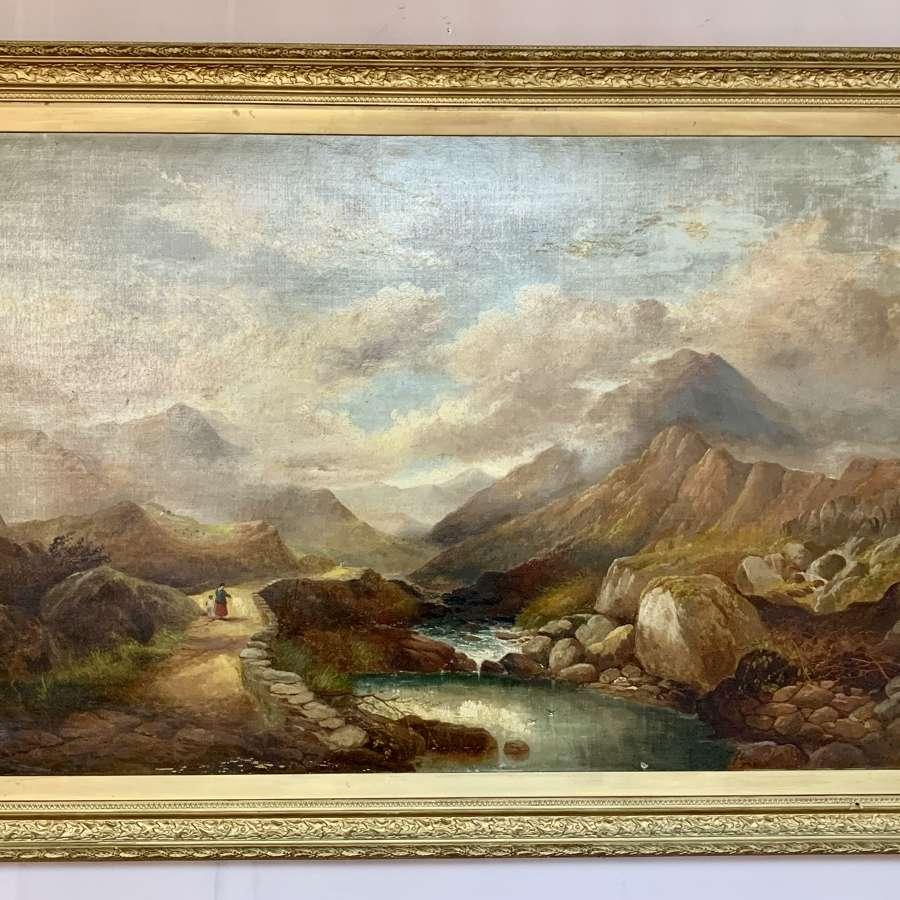 Henry Martin Pope, Llanberis Pass Snowdonia, Oil on Canvas