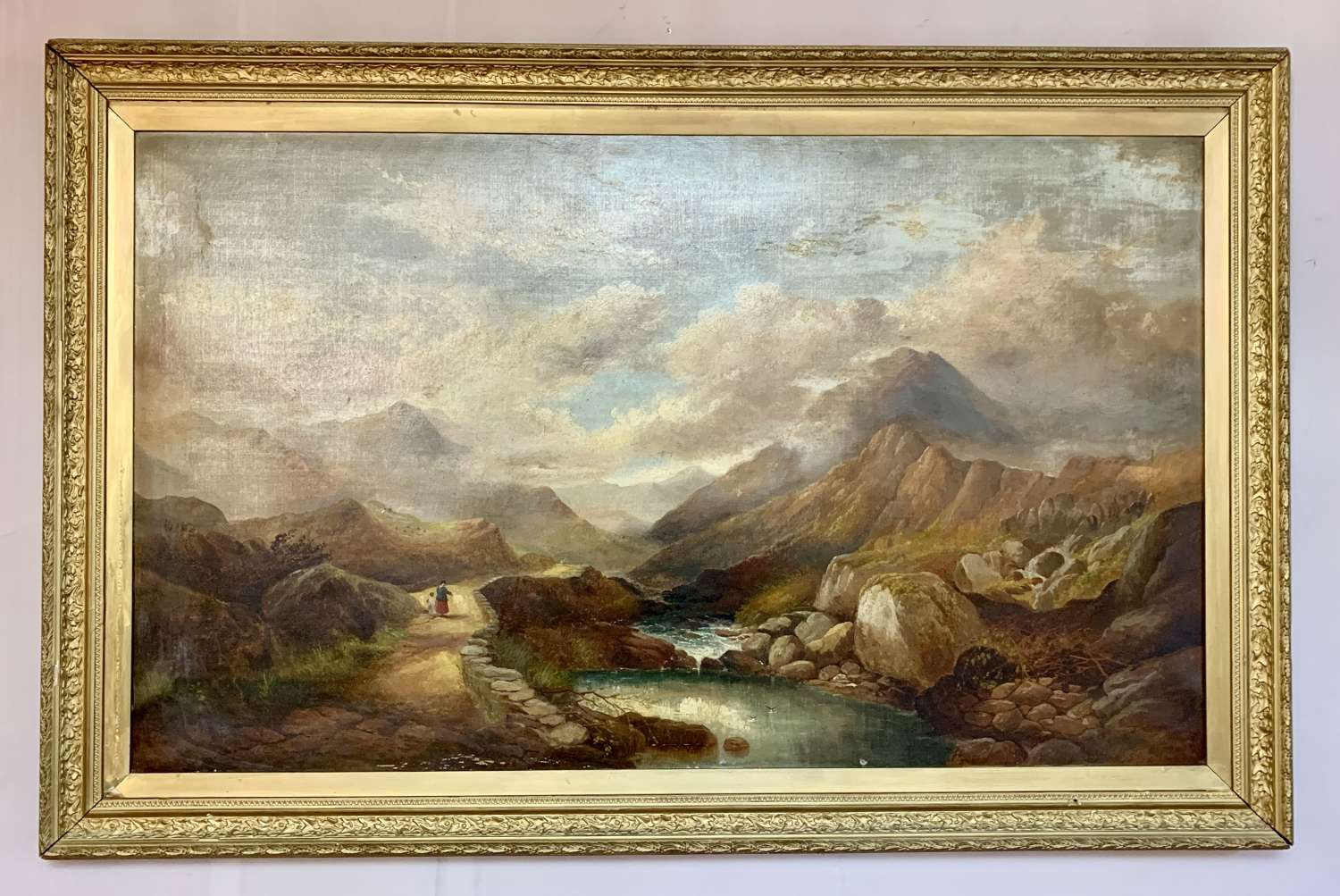 Henry Martin Pope, Llanberis Pass Snowdonia, Oil on Canvas