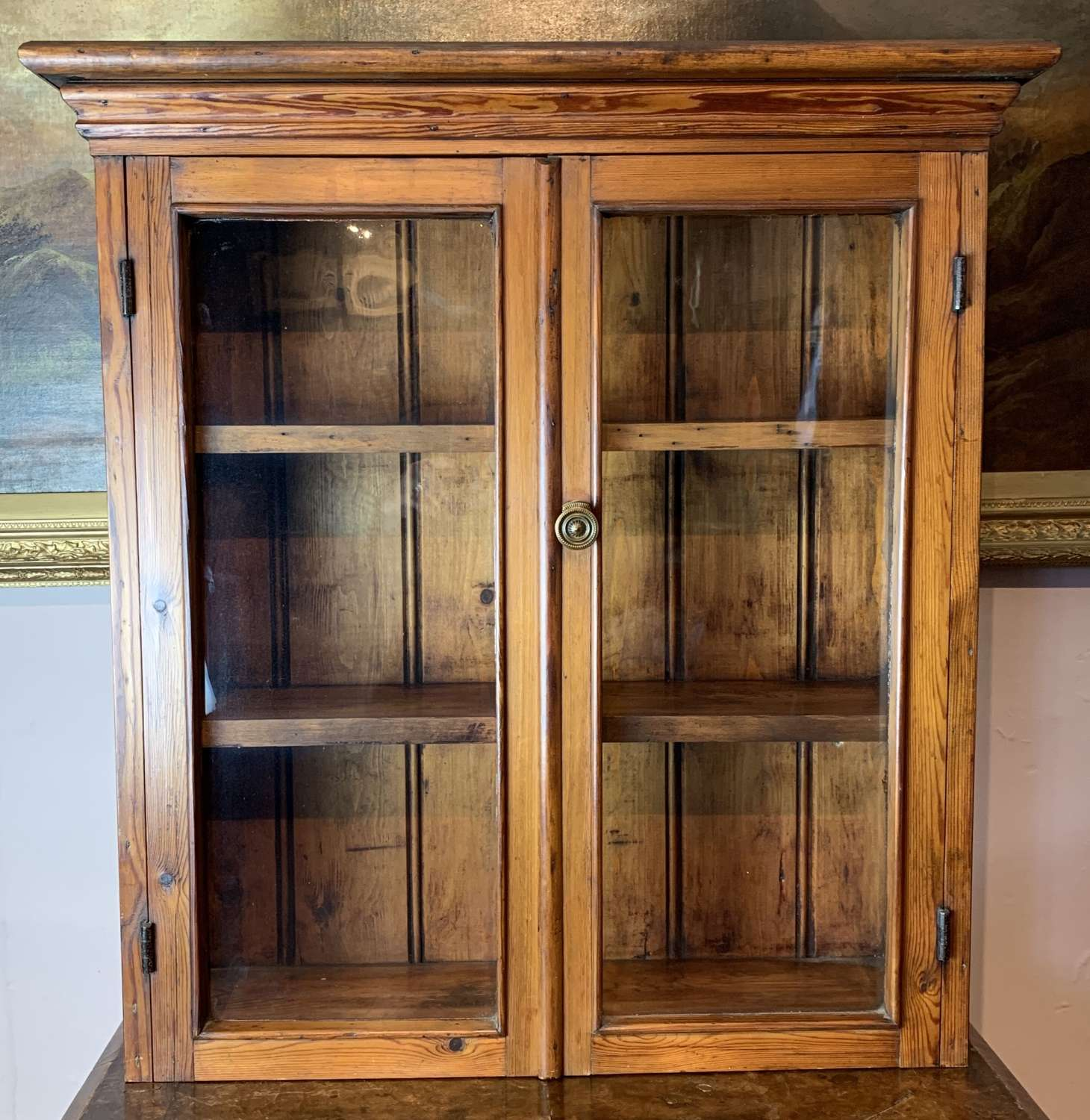Victorian Pitch Pine Two Door Glazed Wall Cabinet