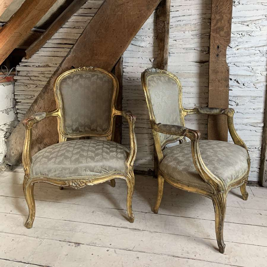 Pair of 19th Century French Giltwood Fauteuils in Louis XV Style