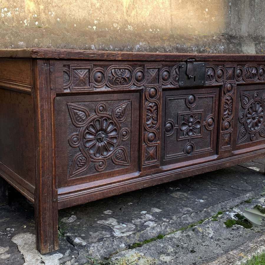 Early 18th Century Three Panel Carved Oak Coffer