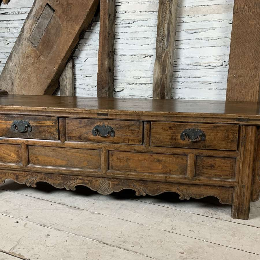 Antique Chinese Elm Low Altar Table