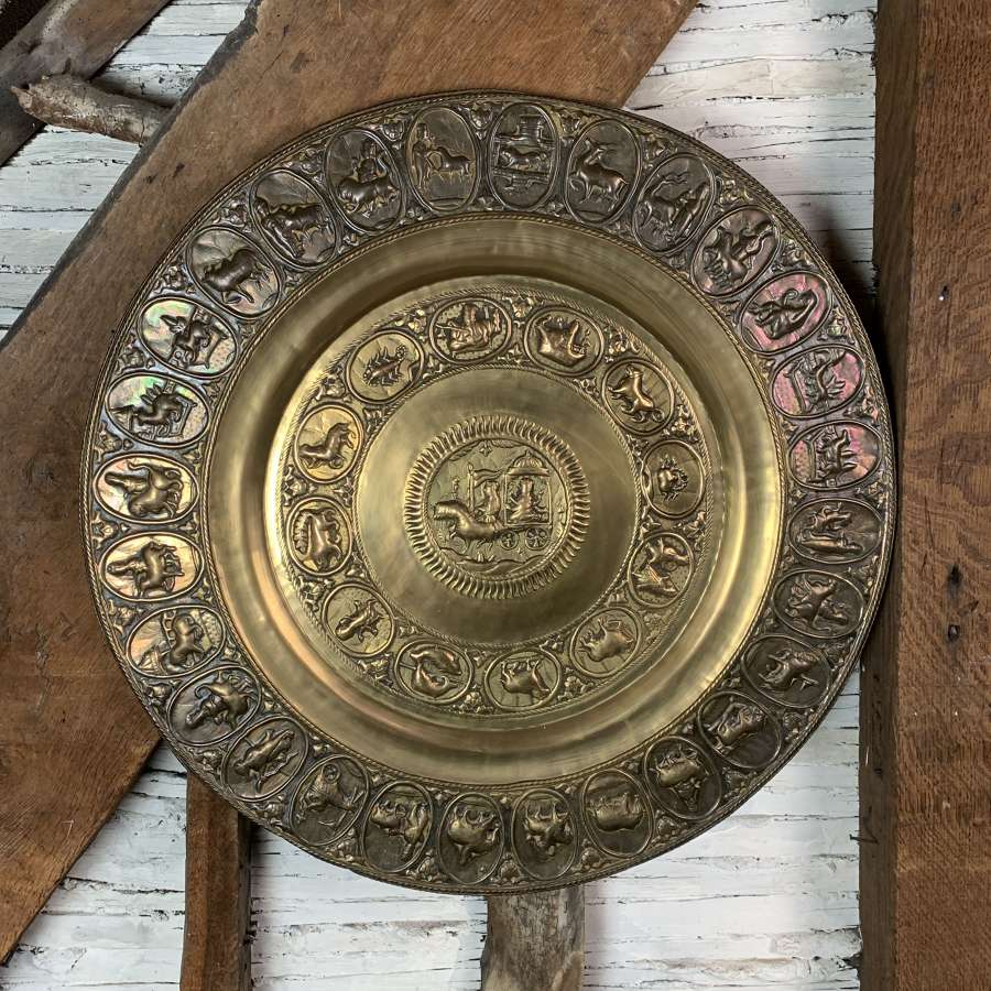 Antique Indian Repousse Brass Zodiac Charger