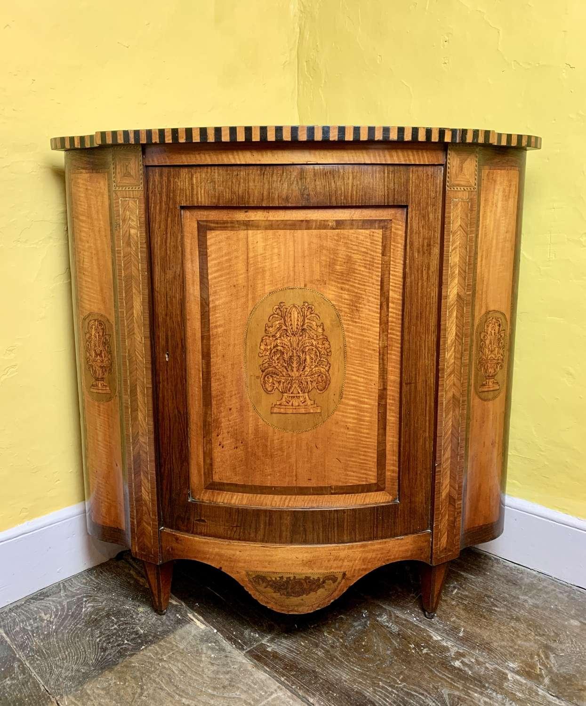 Antique Dutch Marquetry Corner Cupboard