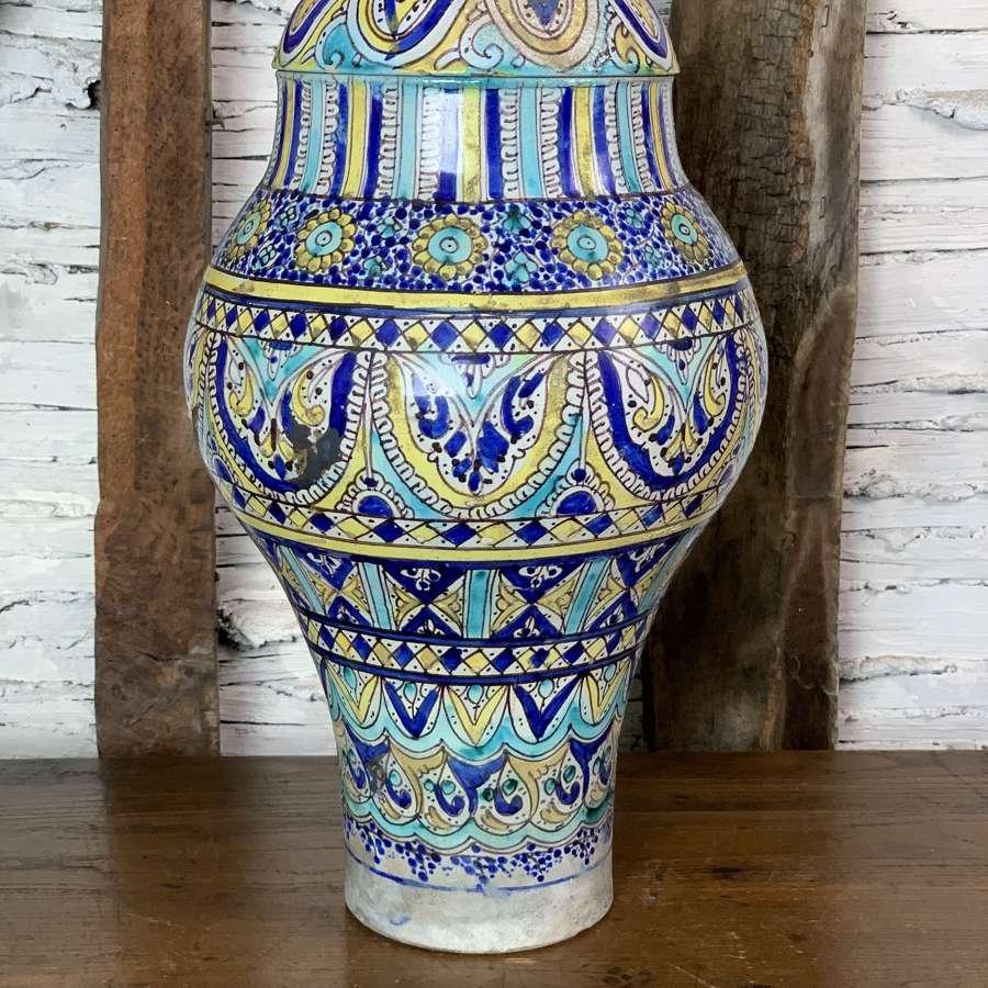 Antique Moroccan Fez Pottery Preserve Jar & Cover