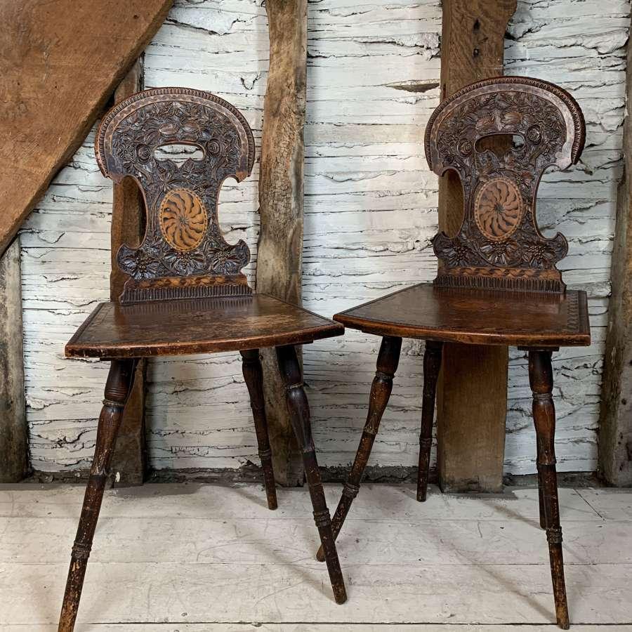 Pair of Antique Swiss Alpine Stabellen Chairs