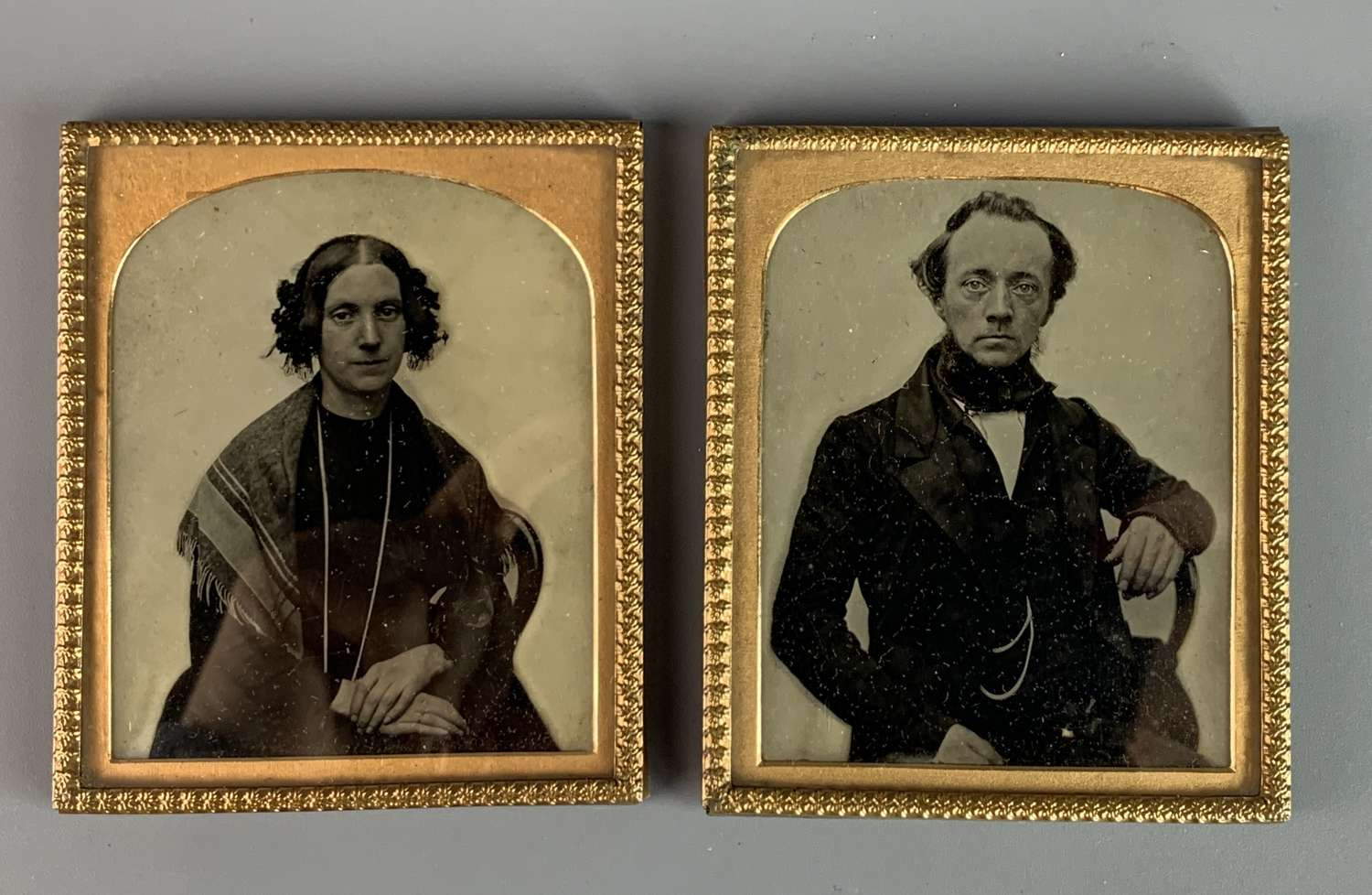 Pair of Victorian Portrait Ambrotypes of a Lady & Gentleman