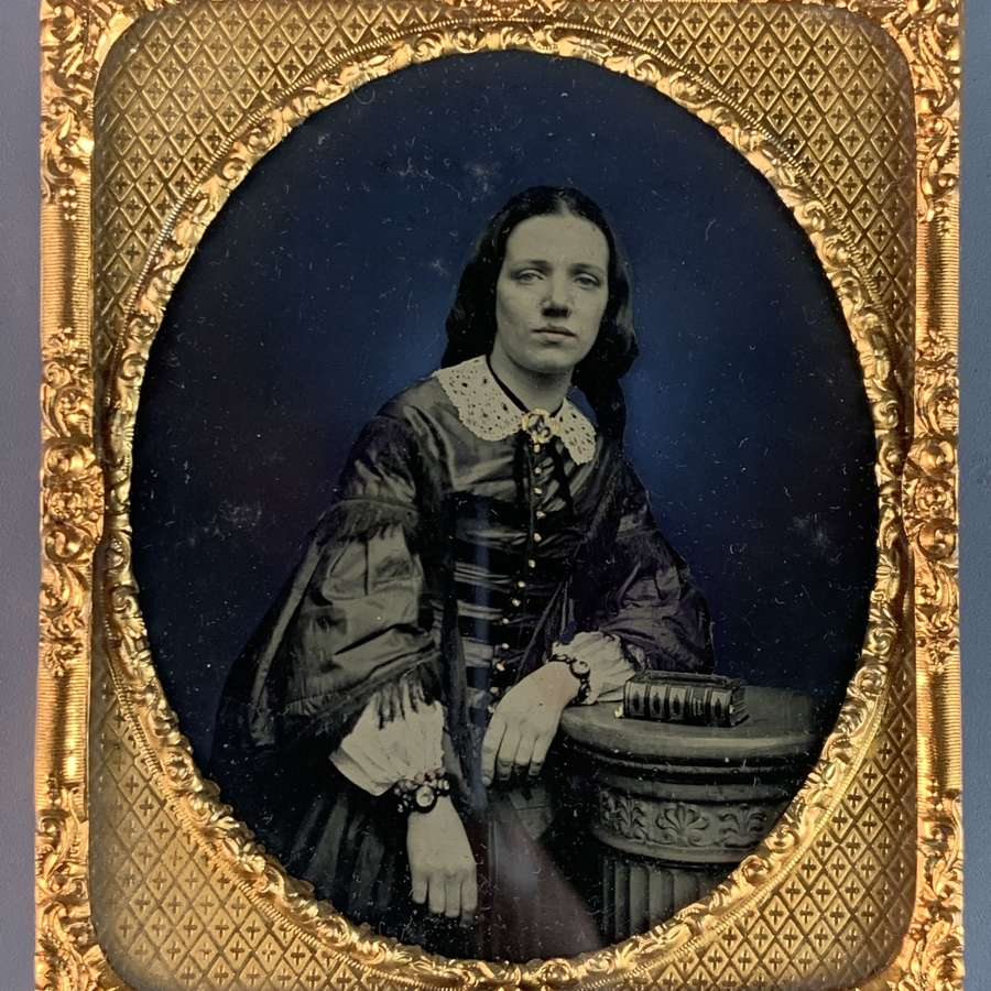 Victorian Hand Tinted Ambrotype of a Young Girl