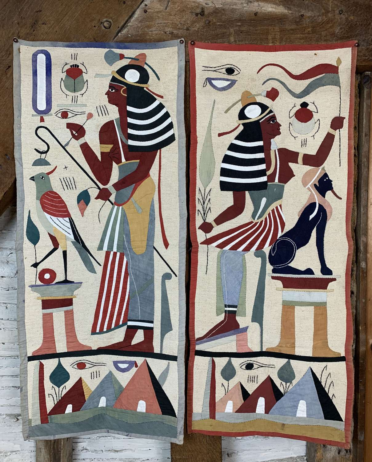Pair of Egyptian Applique Work Wall Hangings