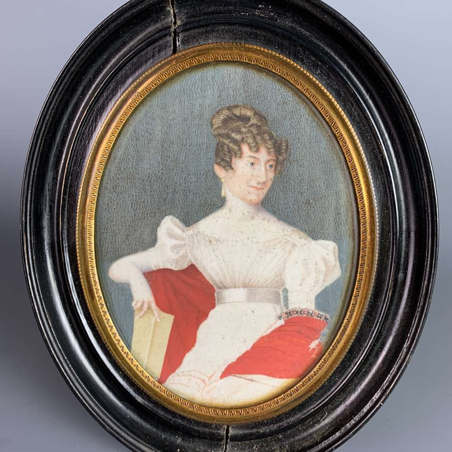 Regency Watercolour Portrait Miniature of a Lady in a Red Shawl