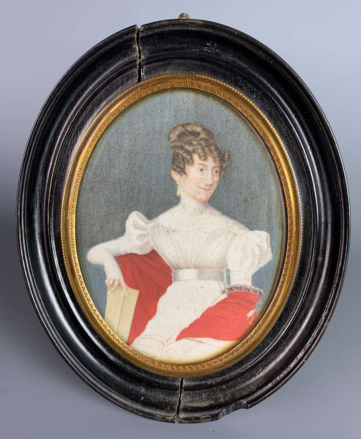 Regency Watercolour Portrait Miniature of a Lady in a Red Shawl