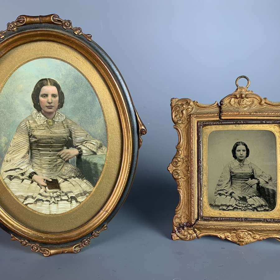 Victorian Ambrotype & Hand-Tinted Photograph