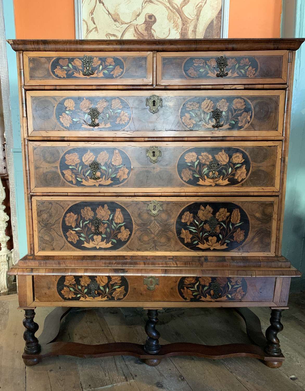 Charles II Marquetry Oyster Veneered Chest on Stand