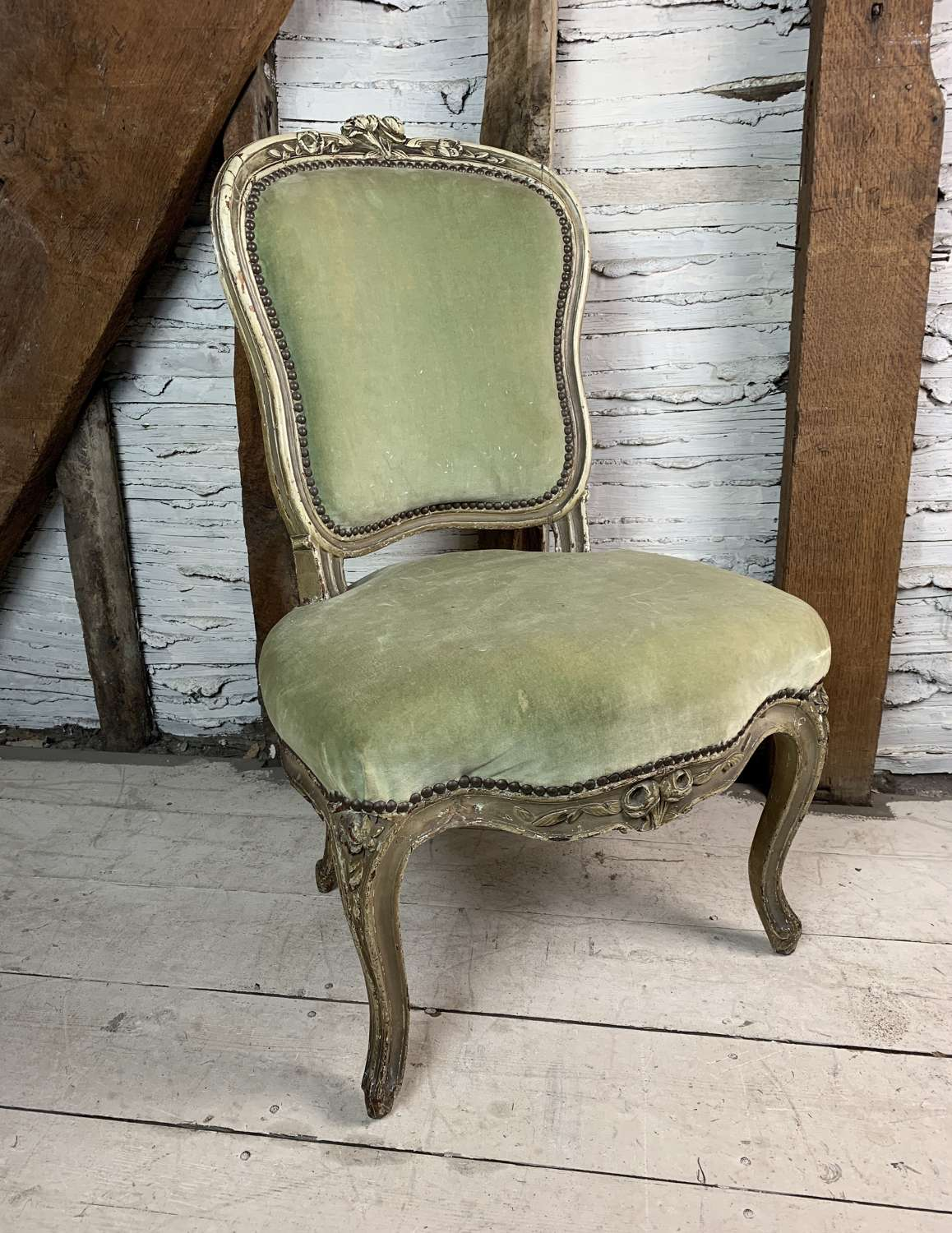 Antique French Side Chair in Louis XV Style