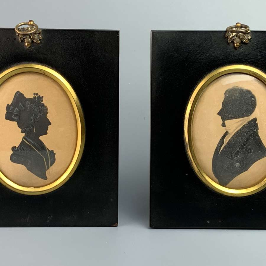 Pair of Regency Cut Paper Silhouettes of a Lady & Gentleman