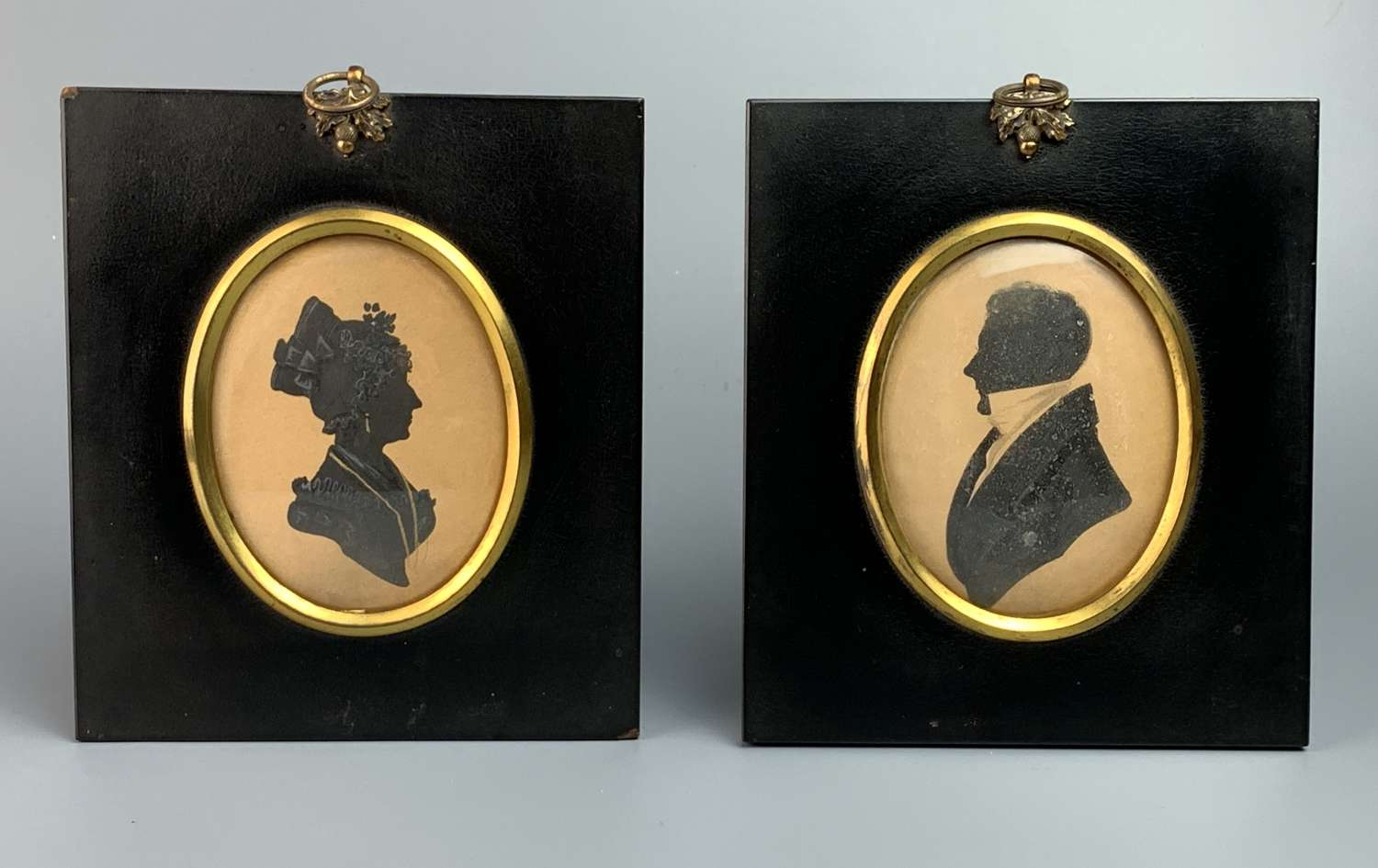 Pair of Regency Cut Paper Silhouettes of a Lady & Gentleman