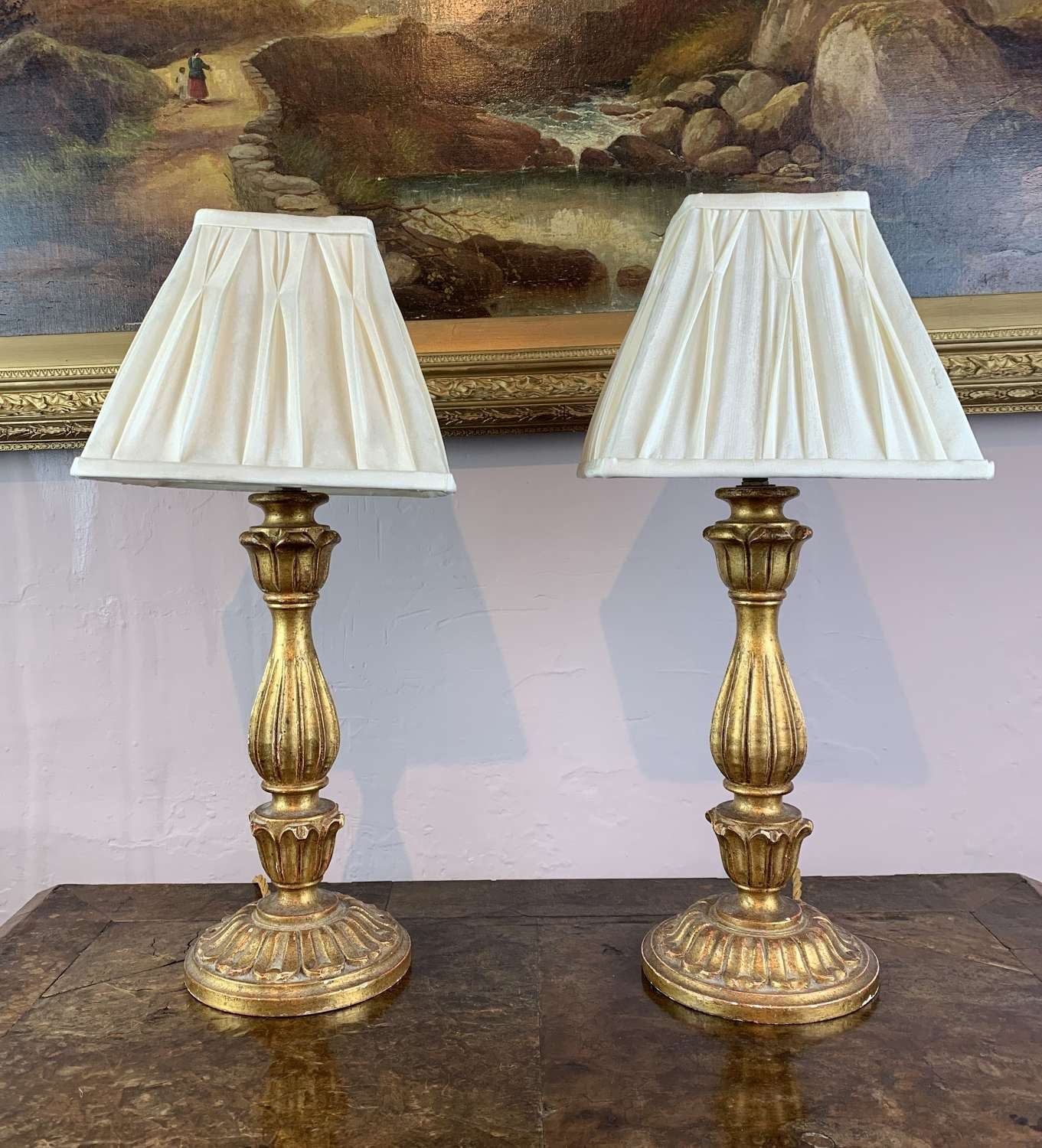 Pair of Carved Giltwood Table Lamps