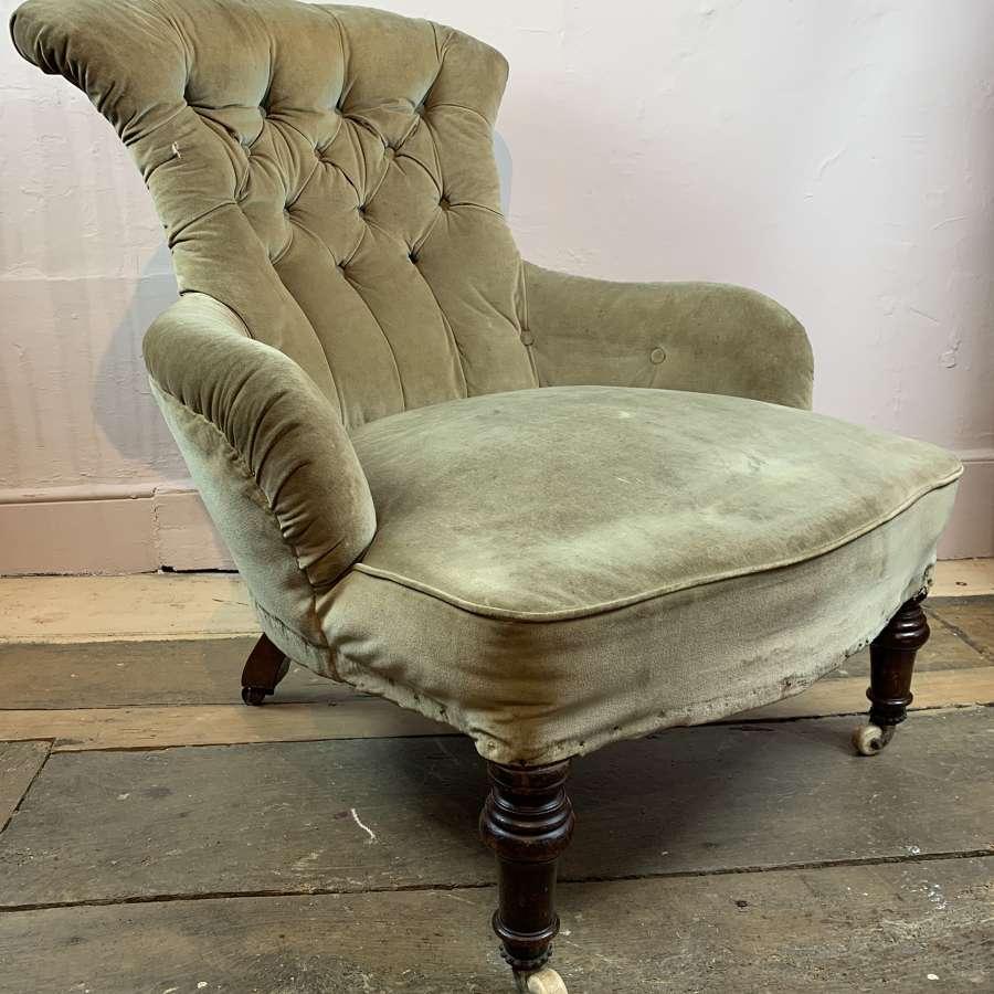 Victorian Fan Shaped Button Back Armchair