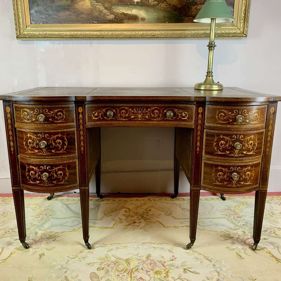 An Inlaid Mahogany Twin Pedestal Desk, circa 1900