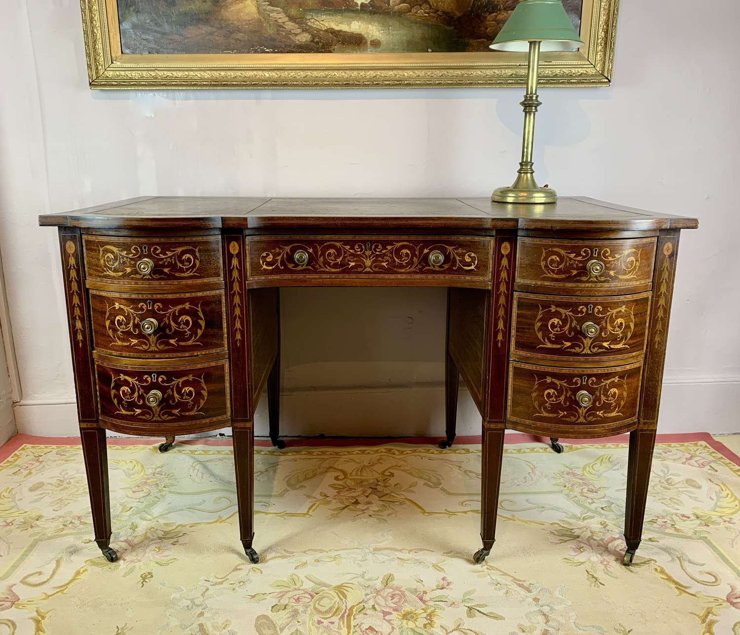 An Inlaid Mahogany Twin Pedestal Desk, circa 1900