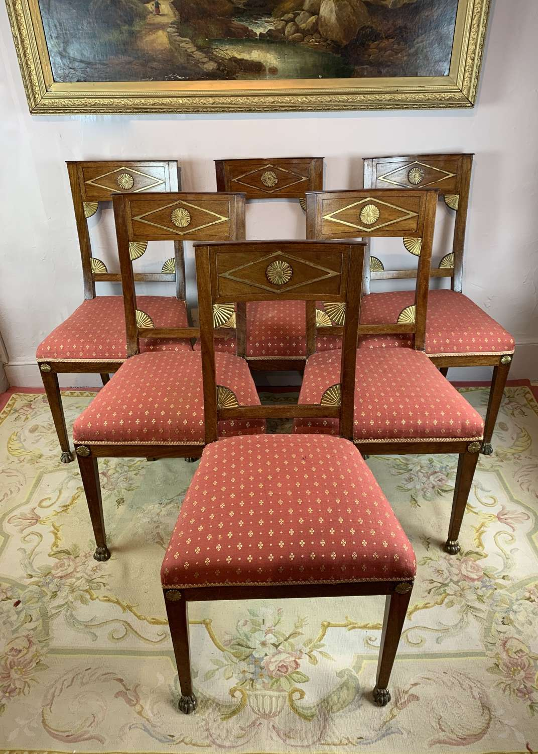 Set of Six Biedermeier Dining Chairs with Lion Paw Feet
