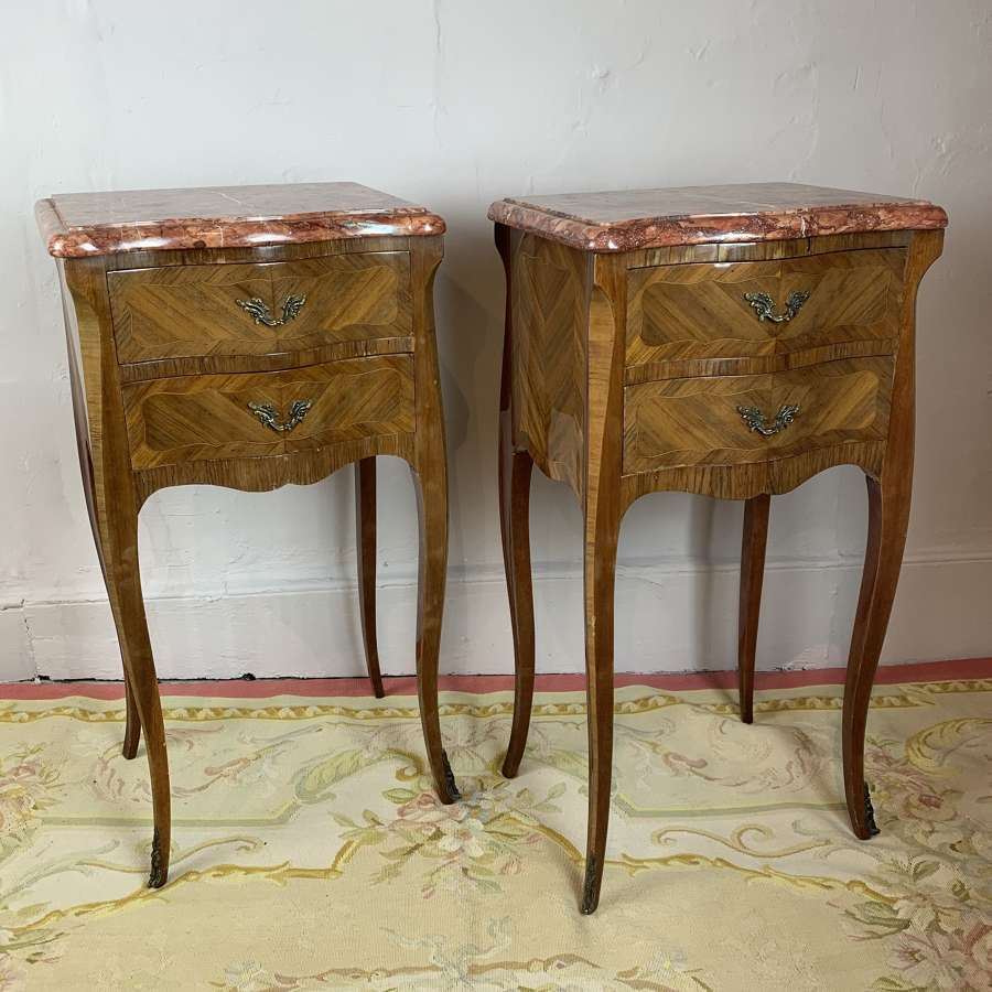 Pair of French Parquetry Bedside Chests in Louis XVI Style