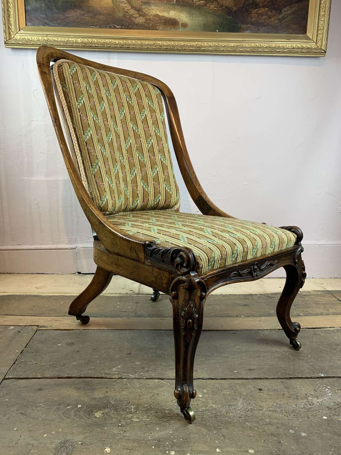 Victorian Mahogany Framed Occasional Chair with Needlework Upholstery