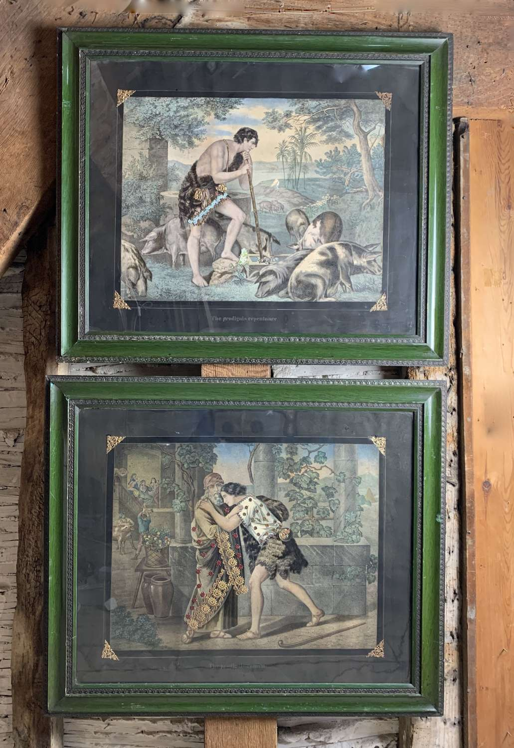 Pair of Victorian Tinsel Embellished Mezzotints - The Prodigal Son