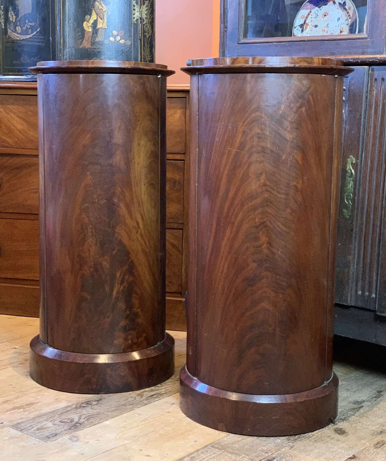 Pair of Victorian Mahogany Cylinder Pedestal Cupboards