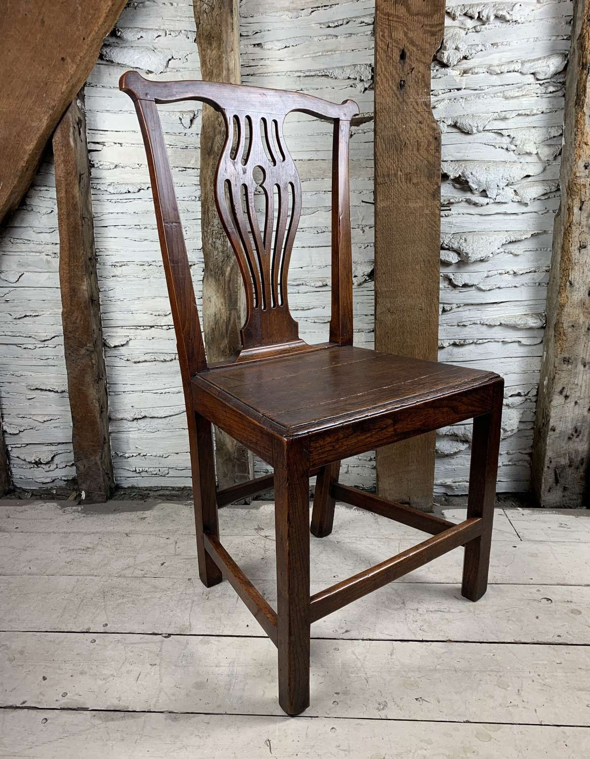 Georgian Provincial Oak Country Chair in Chippendale Style