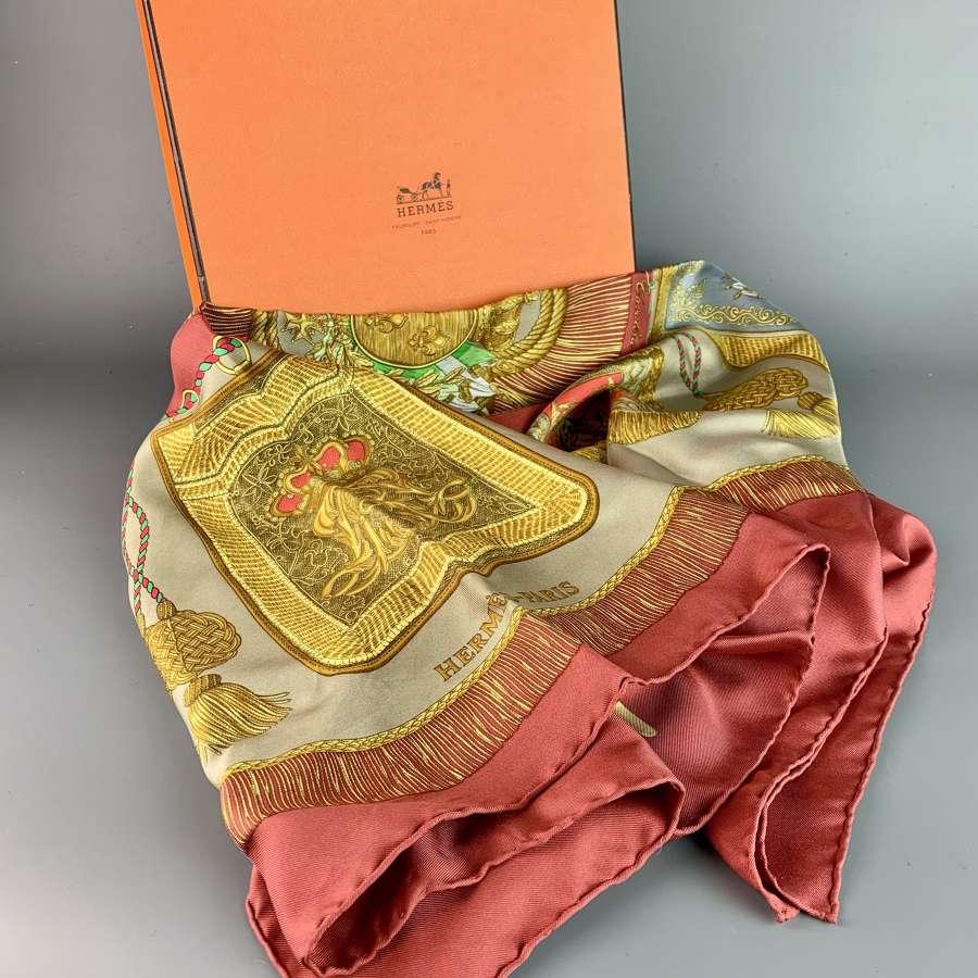 Vintage Hermes Silk Scarf 'Poste et Cavalerie' 1986