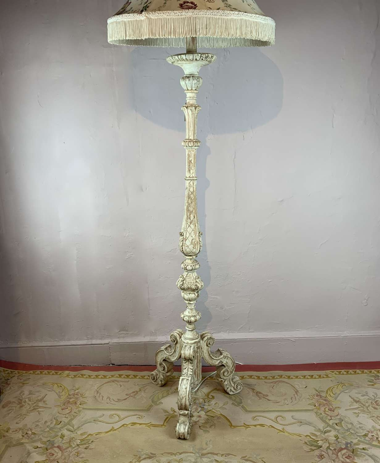 Italian Carved & Painted Floor Lamp in 17th Century Style