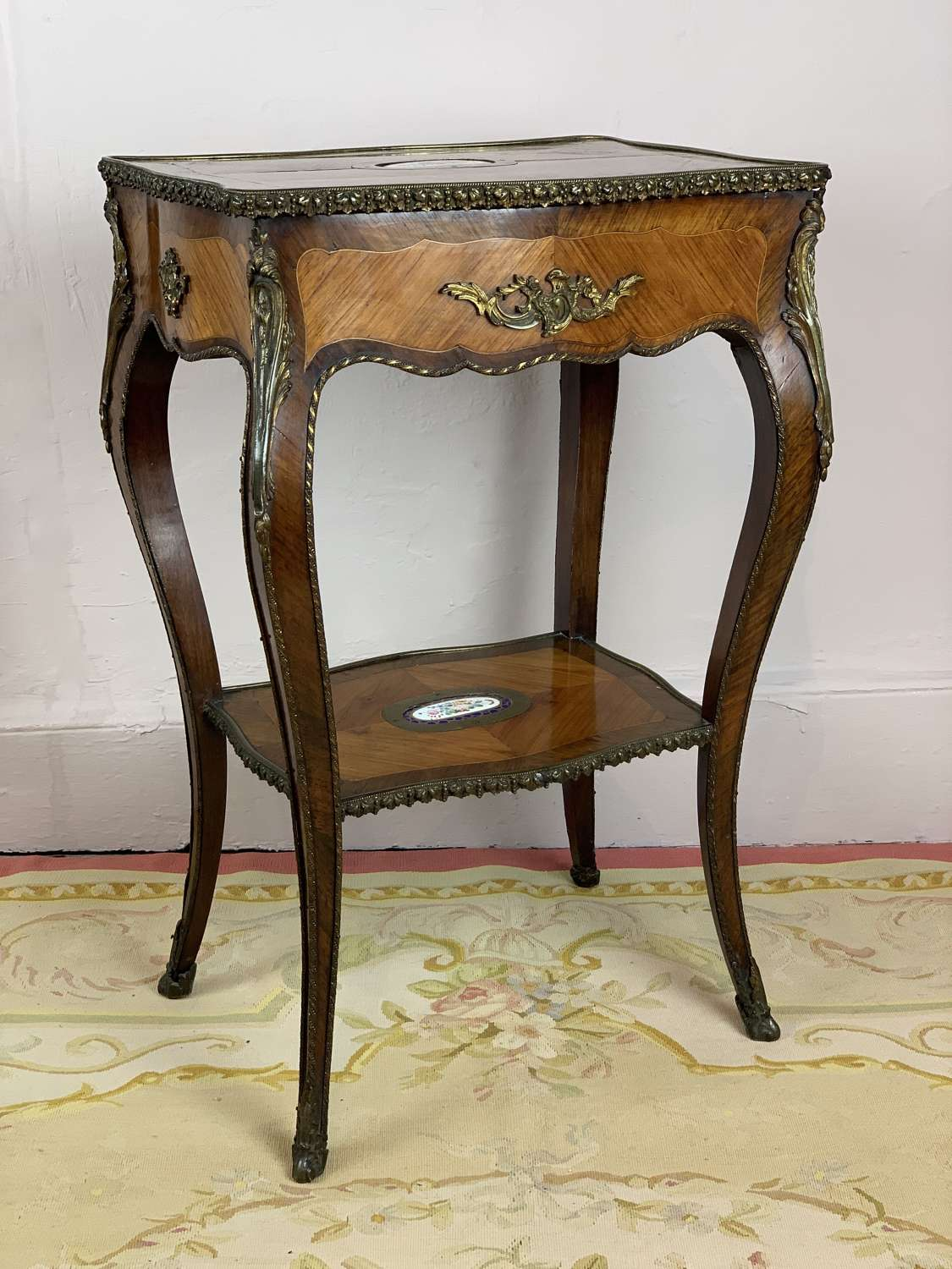 French Ormolu Mounted Kingwood Parquetry Gueridon / Table