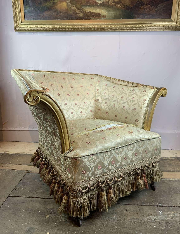 Unusual 19th Century Scroll Arm Armchair