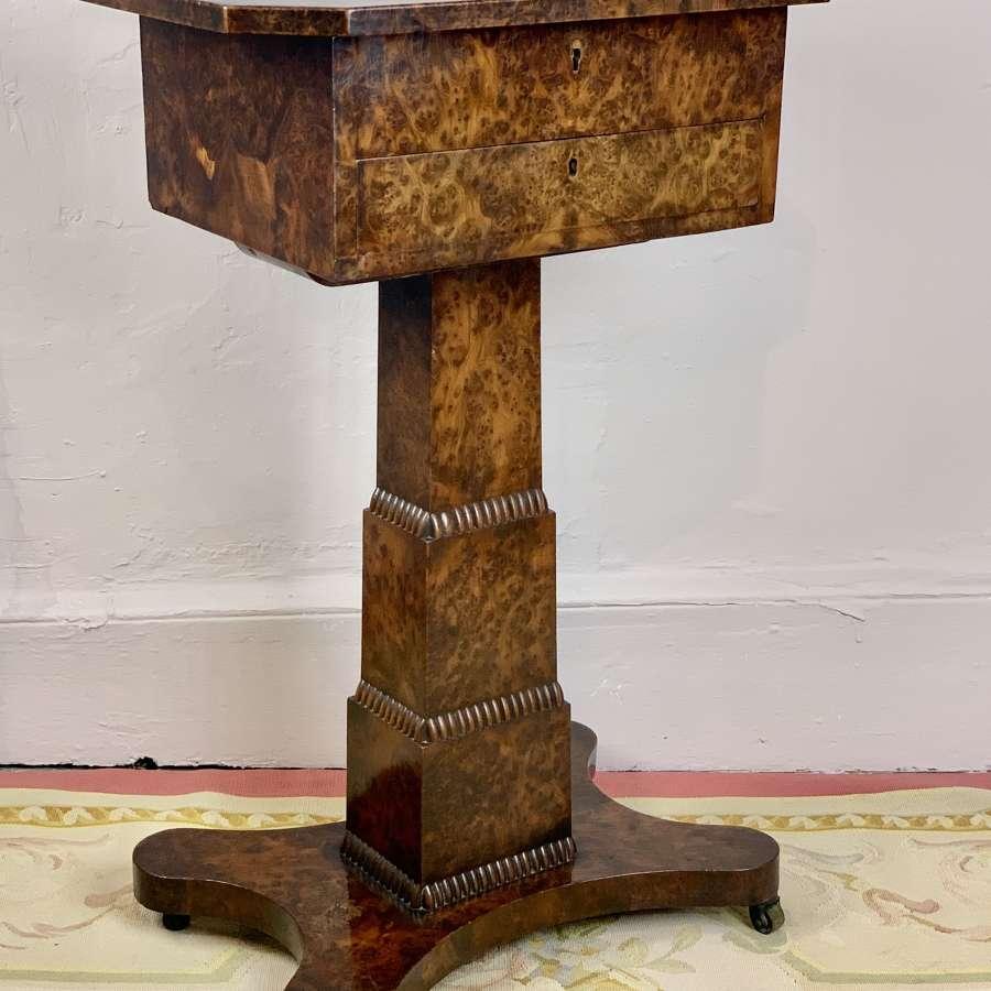 William IV Burr Elm Pedestal Work Table