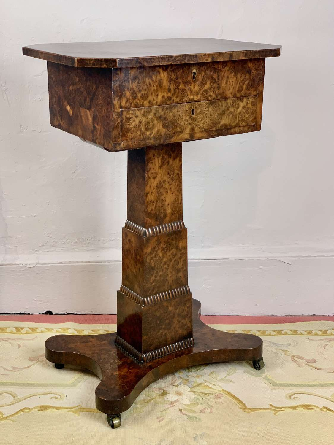 William IV Burr Elm Pedestal Work Table