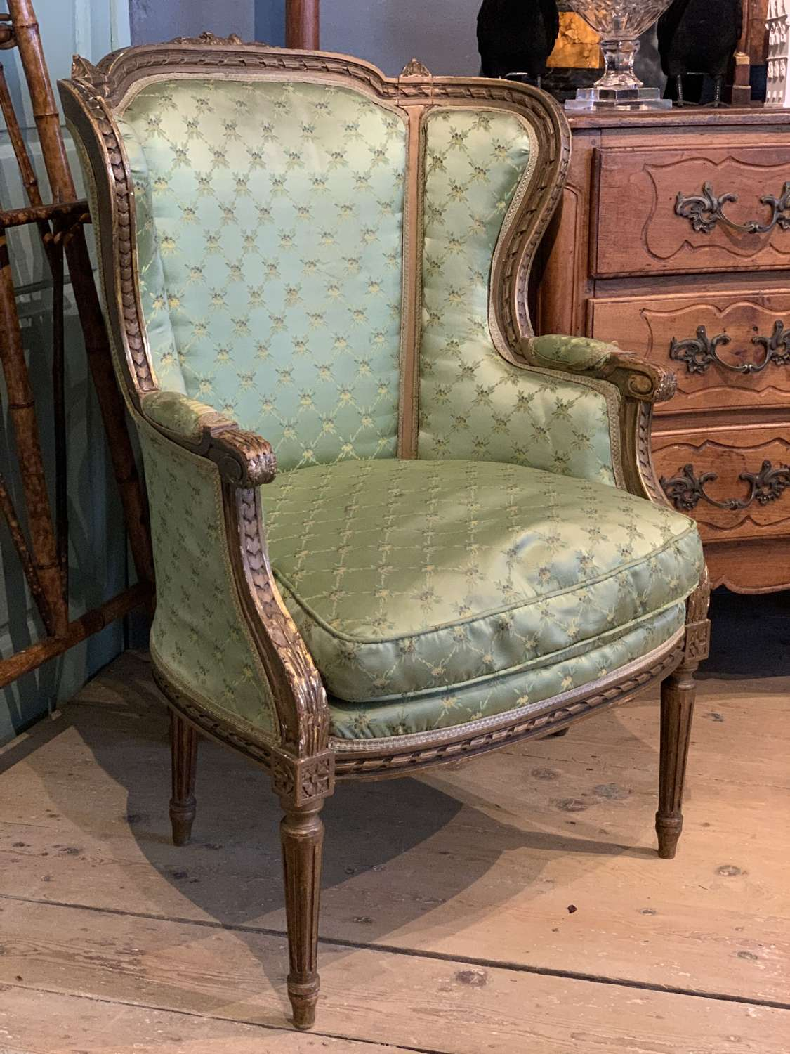 French Giltwood Wingback Armchair