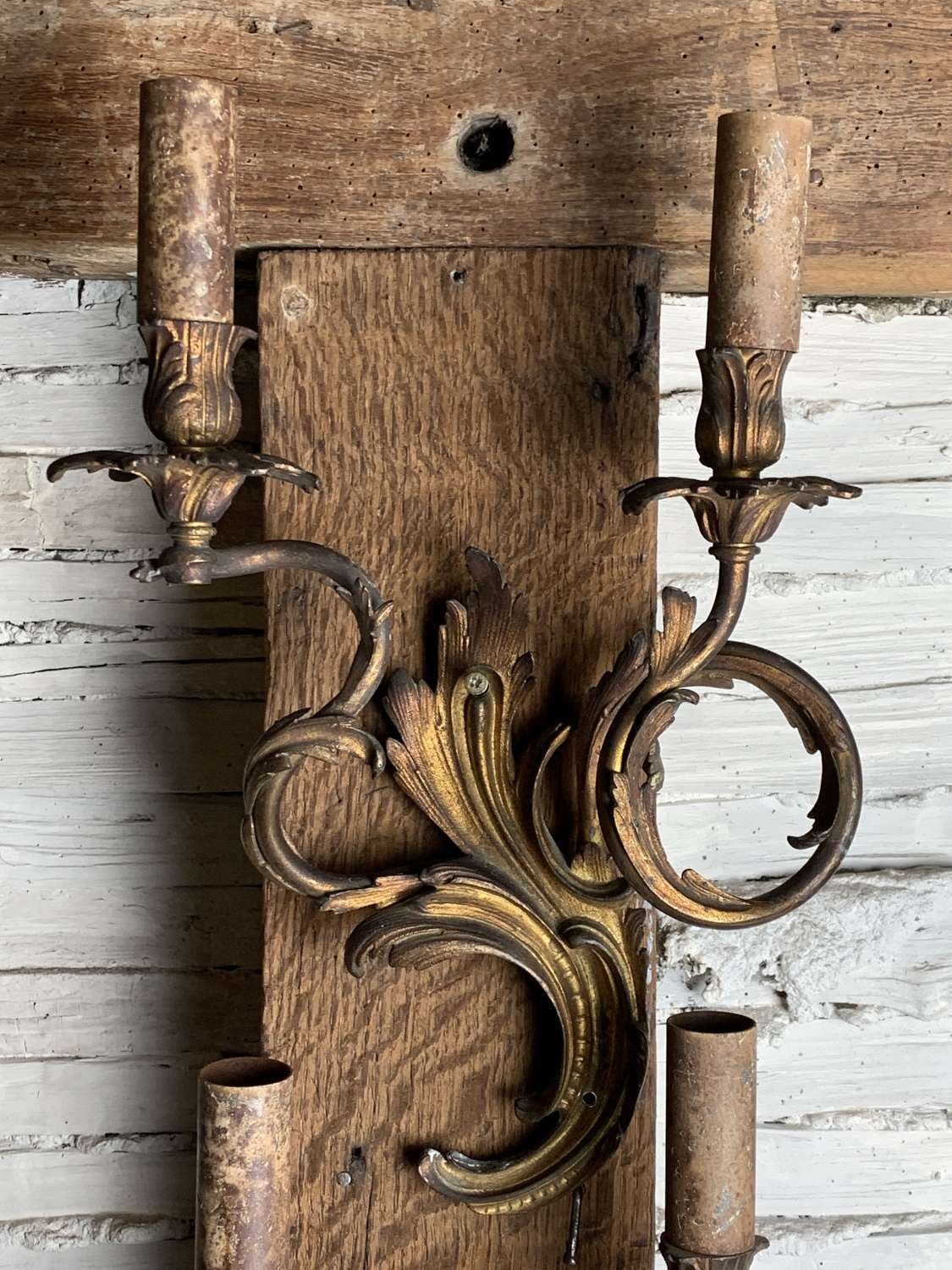 Pair of Gilt Metal Louis XV Style Wall Sconces