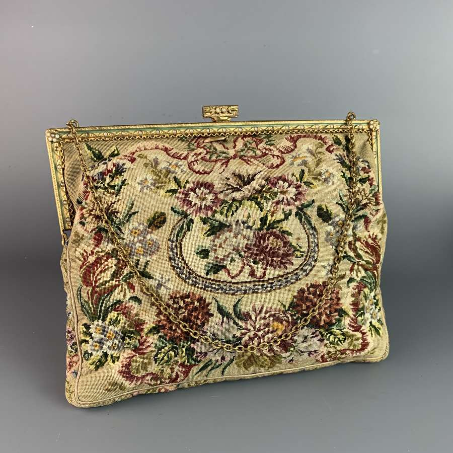 Vintage French Petit Point Evening Bag
