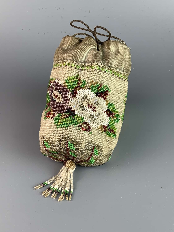 Victorian Beadwork Drawstring Bag