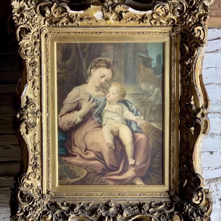 Italian School Madonna & Child after Corregio Watercolour