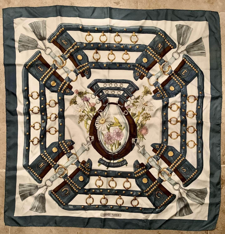 Vintage Hermes Silk Scarf 'Aux Champs' 1970