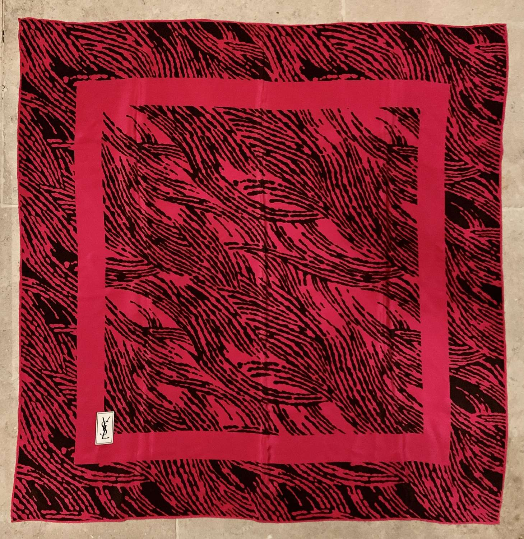 Vintage YSL Cerise Pink Silk Scarf