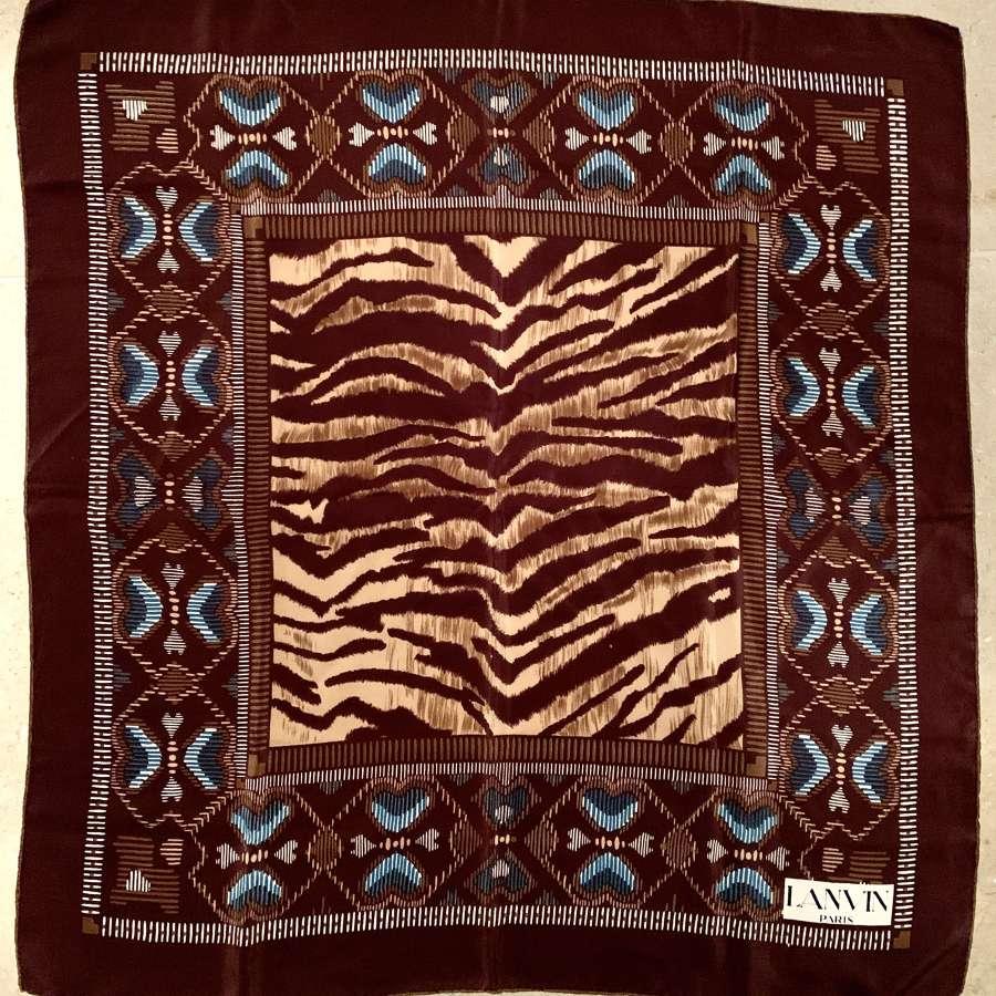 Vintage 1970's Lanvin Brown Silk Scarf