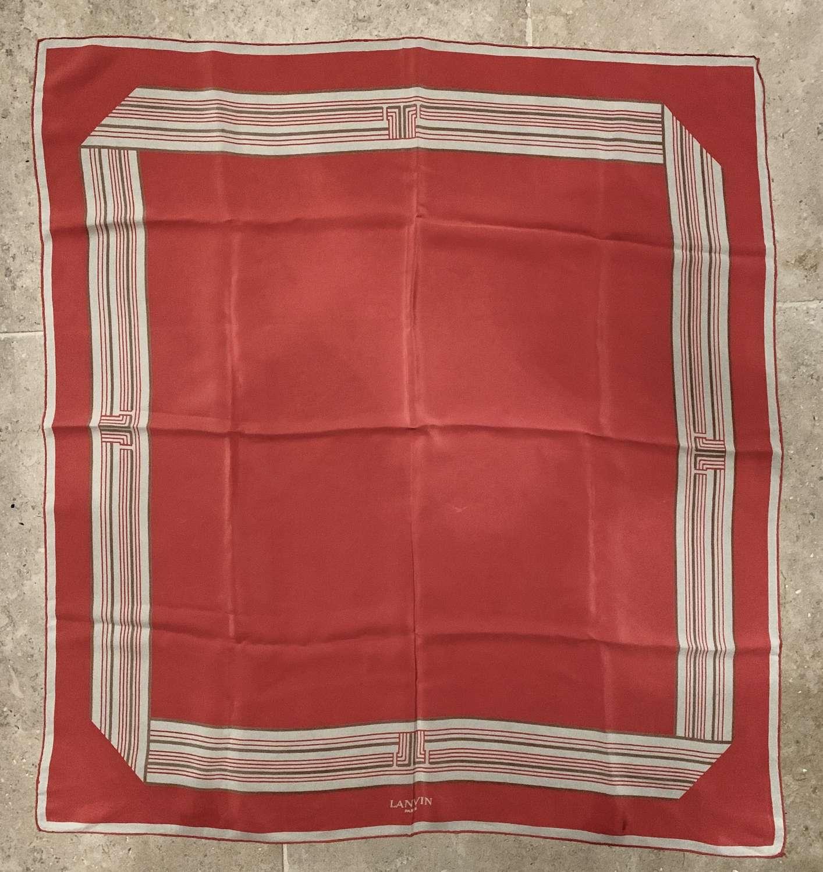 Vintage Lanvin Coral Silk Scarf