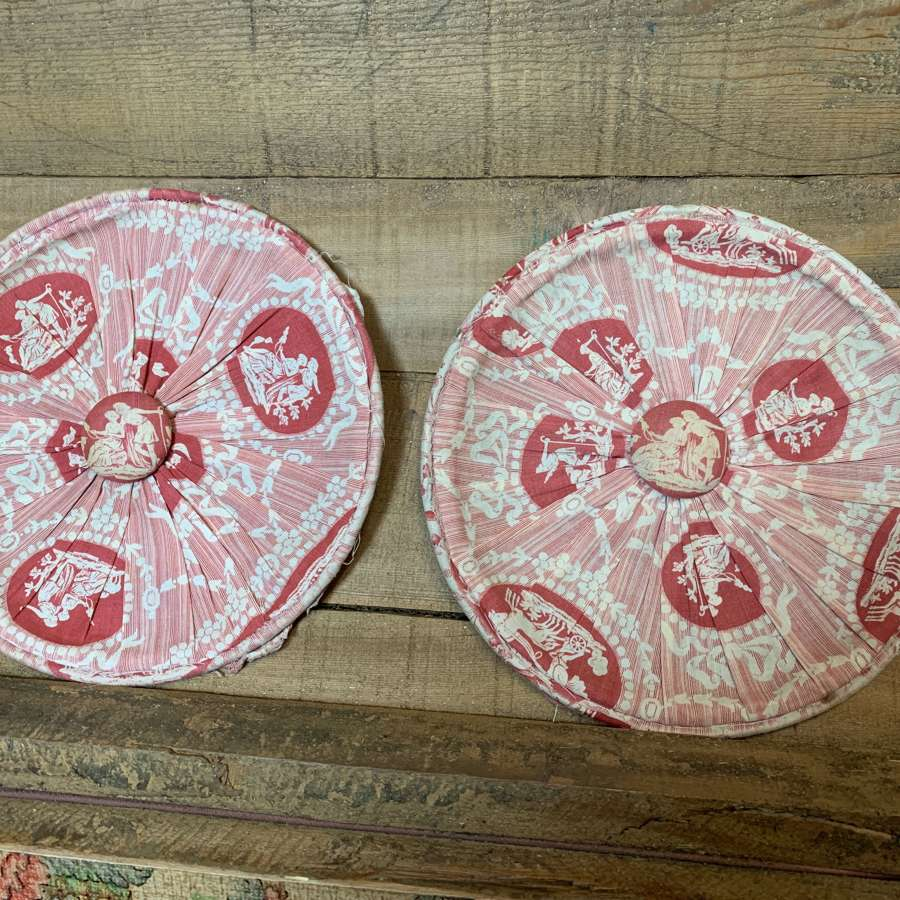 Pair of 19th Century French Toile de Jouy Bolster Ends