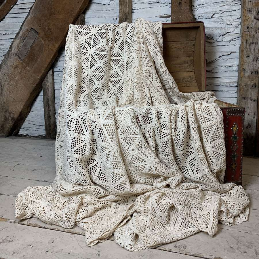 Vintage French Crochet Work Bed Cover