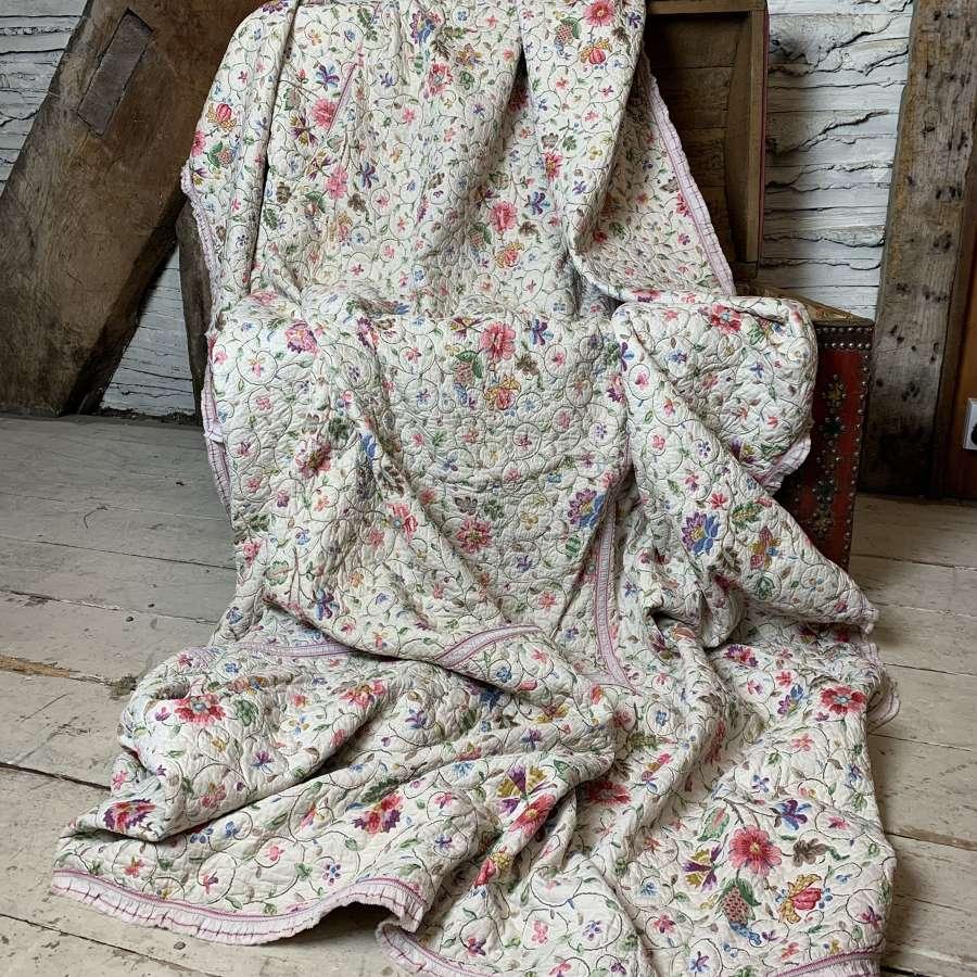 Antique Floral Chain Stitched Quilt
