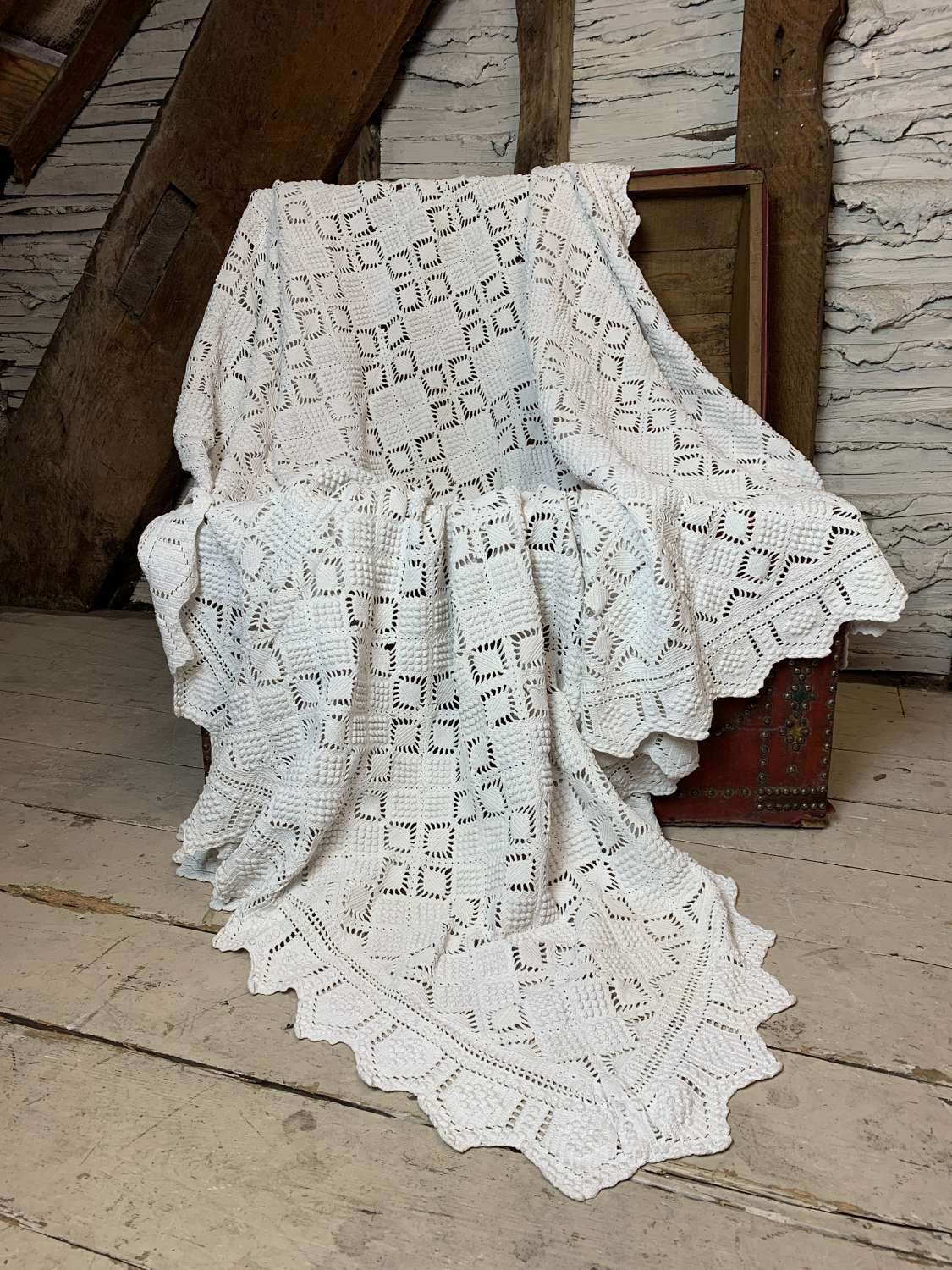Vintage French White Crochet Bed Cover
