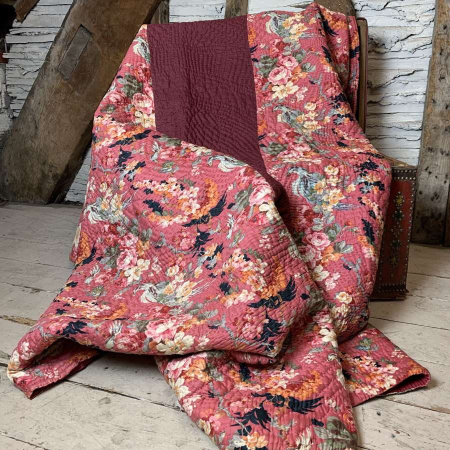 Antique Welsh Floral Hand Stitched Broadcloth Quilt